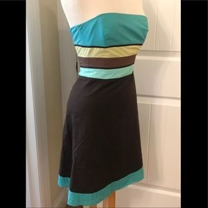 Ann Taylor Color Block Strapless Dress 2 P